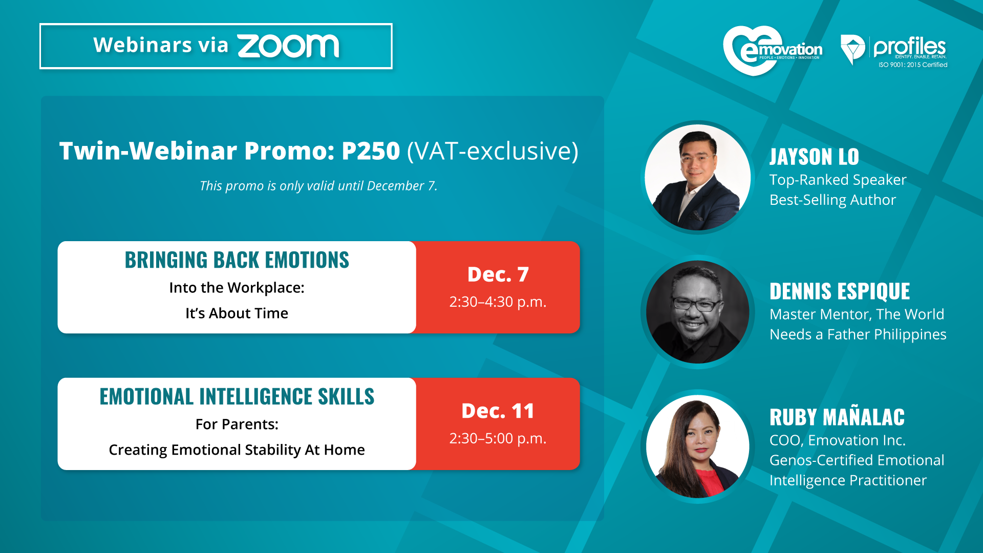 Back-to-Back Emotional Intelligence Webinars: For the Workplace and Home