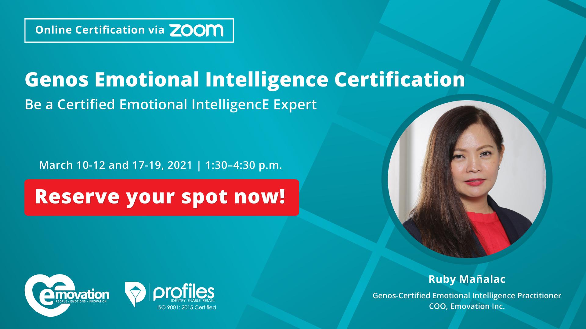 Online Genos Emotional Intelligence Certification Philippines