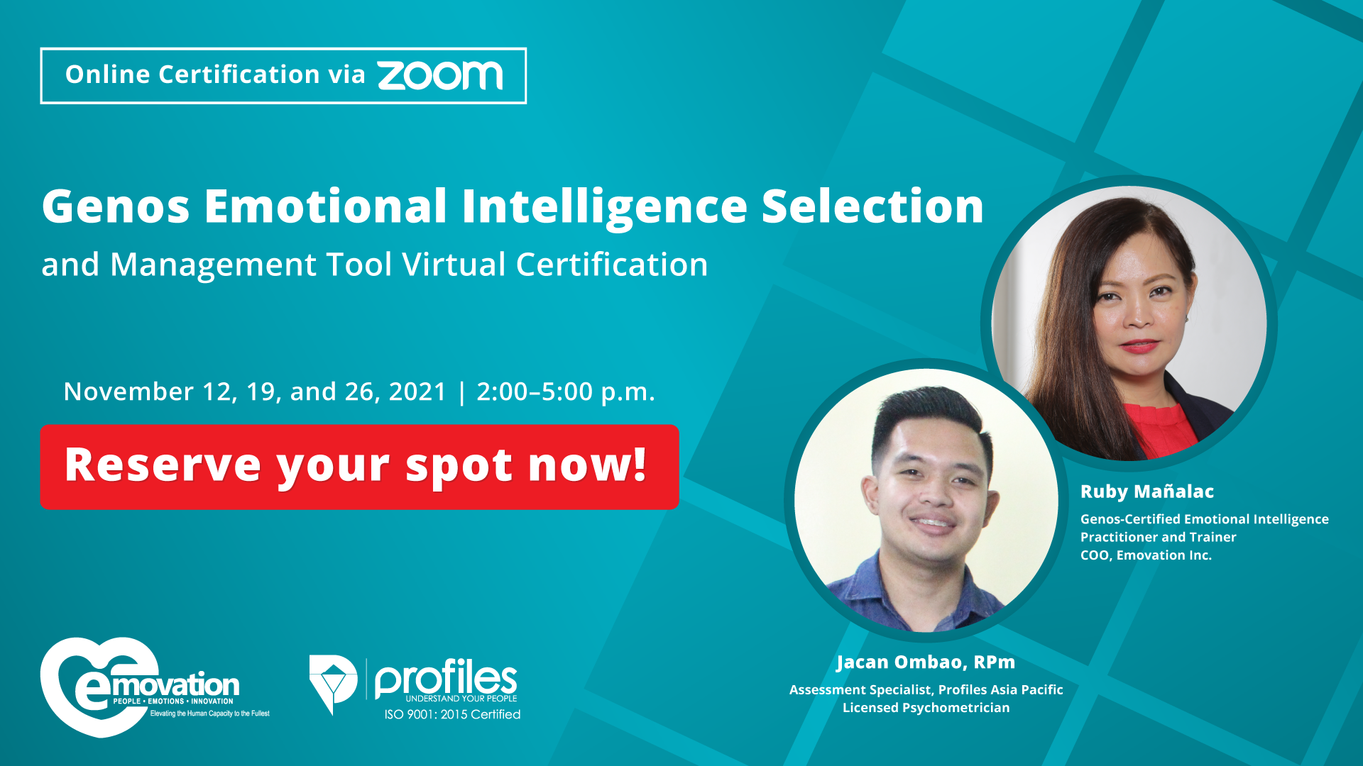 Genos Emotional Intelligence Selection and Management Tool Virtual Certification